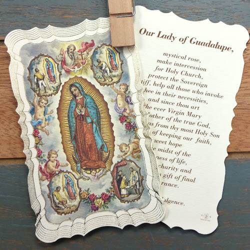 Our Lady Of Guadalupe Mystical Rose Prayer Card