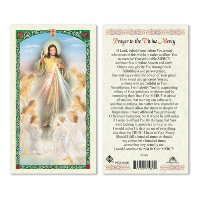 Divine Mercy With Angels Laminated Prayer Card