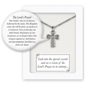 "Small Cross with The Lord's Prayer Inspired Vision Pendant 13"" Chain Gift Boxed"