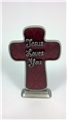 Jesus Loves You Pewter Table Cross with Red Enamel