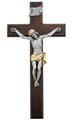 12 inch Fine Walnut and Two-tone Pewter Crucifix