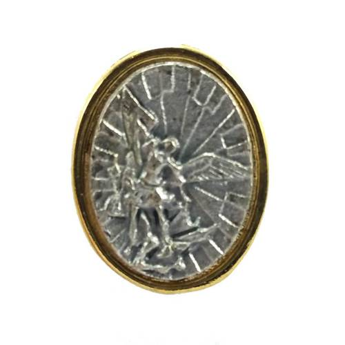 st michael pewter lapel pin
