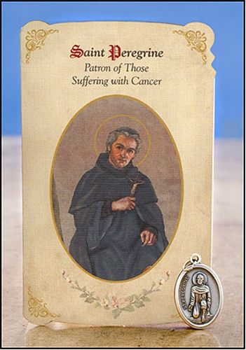 St Peregrine (Cancer) Healing Holy Card with Medal