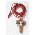 Wood and Red Enamel Confirmation Crucifix on Cord