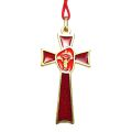 Red Enamel Confirmation Cross on Cord (Gold)