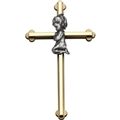 "8"" Gold Cross with Praying Girl"