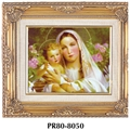Wood Framed Madonna and Child with Lilies