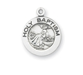 "Sterling Silver Medium Round Baptismal Medal with 18"" Chain , Boxed"