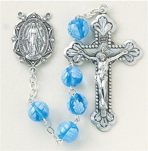 Venetian Glass Rosary Beads Blue Glass Rosary