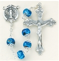 Blue Marble Double Capped Glass Bead Rosary