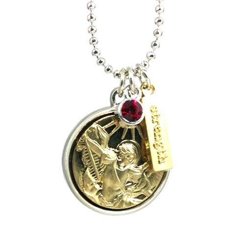 st michael strength charm necklace