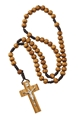 Wood Bead Cord Rosary with Metal Corpus