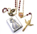 Crystal Divine Mercy Rosary with Silver Plaque