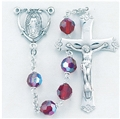 Tin Cut Czech Ruby Crystal Rosary