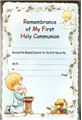 Precious Moments Boy Communion Card