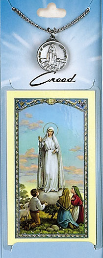Lady of Fatima Prayer Card with Pewter Medal
