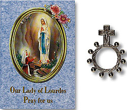 OLO Lourdes Rosary Ring with Pamphlet