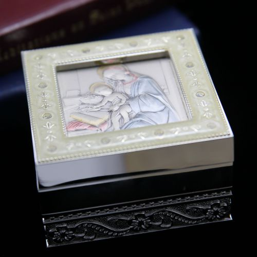 Sterling Silver Madonna and Child Box