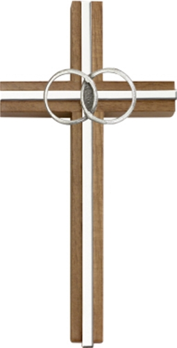 "Walnut 6"" Marriage Wall Cross"