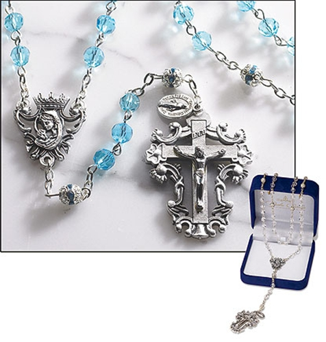 Aqua Crystal Rosary with Thick Crucifix