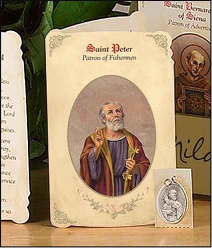 Saint Peter the Apostle (Fisherman) Holy Card with Medal