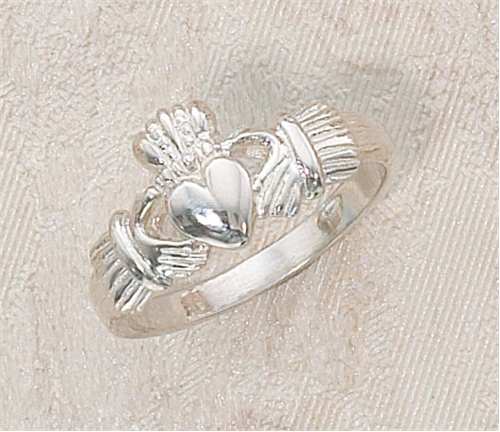 White Heart Claddagh Sterling Silver Ring