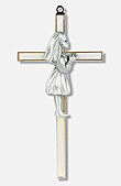 Pearlized Girl's Commuion Wall Cross Profile