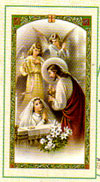 Girl's Communion Laminated Prayer Card Angels