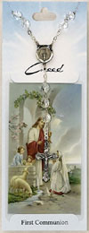 Communion Prayer Card with Rosary Girl