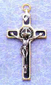 St Benedict Black Crucifix with Gold Trim