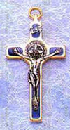 St Benedict Blue Crucifix with Gold Trim