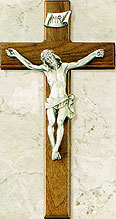 12 inch Fine Walnut and Pewter Crucifix Thick