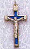 1.75 Inch Blue Metal Bound Crucifix Pendant