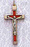 1.75 Inch Metal Bound Crucifix-Red