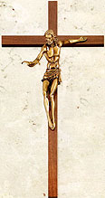 Walnut and Gold Gift of the Spirit Crucifix