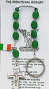 Irish Penal Rosary with Bright Green Beads