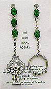 Irish Penal Rosary with Oval Shamrock Green Beads
