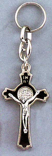 St Benedict Silver Black Key Chain