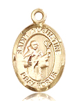 St Augustine Small 14KT Gold Medal