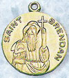 St Brendan Gold Filled Medal