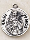 St Francis Round Sterling Silver Medal