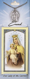 Lady of Carmel Prayer Card with Pewter Medal