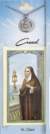 St Clare Prayer Card with Pewter Medal