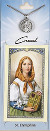 St Dymphna Prayer Card with Pewter Medal