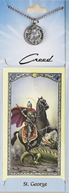 St George Prayer Card with Pewter Medal