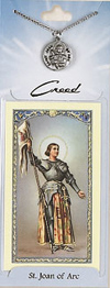 St Joan of Arc Prayer Card with Pewter Medal