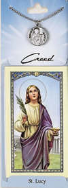 St Lucy Prayer Card with Pewter Medal