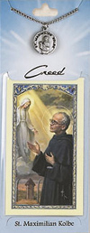 St Max Kolbe Prayer Card with Pewter Medal
