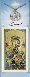 Perpetual Help Prayer Card with Pewter Medal