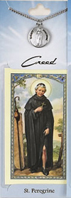 St Peregrine Prayer Card with Pewter Medal